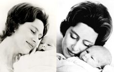 Margaret with her baby son, David (Viscount Linley)
