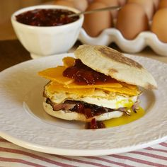 EGG, HAM & CHEESE BREAKFAST SANDWICH with Red Bell Pepper Ancho Chili Jam by Earth & Vine Provisions