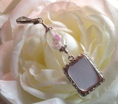 Wedding bouquet photo charm. Photo charm with pink flowers bead. Bridal bouquet charm with one or 2 sided picture frame. Gift for the bride. (8.99 USD) by SmilingBlueDog