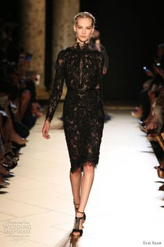 elie saab fall 2012 couture short black lace dress long sleeves