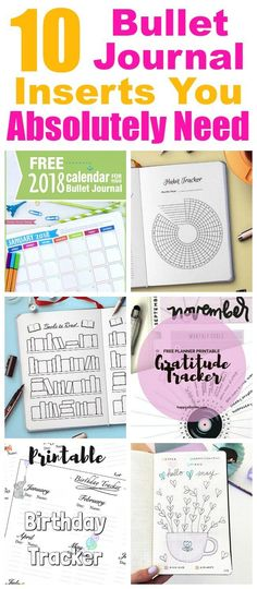 10 Bullet Journal Inserts You Need- The bullet journal is a great way to organize and plan out your life. But drawing all your own bujo pages takes time! Save time and start planning faster with these printable bullet journal inserts! Bullet Journal Inserts, Bullet Journal Tracker, Bullet Journal Hacks, Bullet Journal Printables, Bullet Journal Spread, Bullet Journal Layout, Bullet Journal Inspiration, Bullet Journals, Journal Prompts