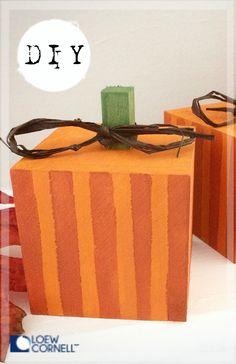 "Just in time for your Thanksgiving Table. Paint and scatter a few DIY Square Pumpkins around or make a set for the mantle. They are a perfect compliment to any ""square meal"" Projects For Kids, Wood Projects, Wood Square, Thanksgiving Table, Mantle, Pumpkins, Compliments, Meal, How To Make"