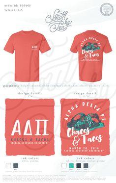 Alpha Delta Pi | Chacos and Tacos | Social Theme T-Shirt | South by Sea | Greek Tee Shirts | Greek Tank Tops | Custom Apparel Design | Custom Greek Apparel | Sorority Tee Shirts | Sorority Tanks | Sorority Shirt Designs