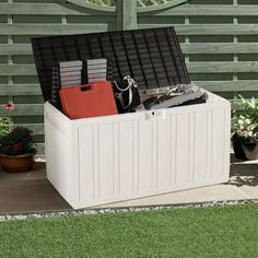 80 Gallon Plastic Deck Storage Box Tool Box Patio Storage Container $59.95 + Free Shipping This deck box has good water resistance, so you don't have to worry about rainy days. High quality PP material is not easy to deformation and shrinkage.