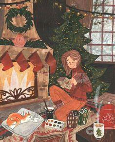 A cozy time on Behance Illustration Inspiration, Illustration Noel, Winter Illustration, Christmas Illustration, Illustrations, Christmas Mood, Noel Christmas, Xmas, Christmas Aesthetic