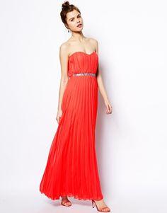 ASOS Pleated Bandeau Maxi Dress