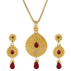 Green and  Maroon  and  Golden Beads Gold platted Pendants