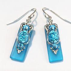 e55f78f32 Caribbean Aqua Stained Glass Earrings with Aqua Glass Opal and Aquamarine  Crystal Accents. Hurstjewelry