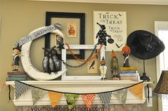 Halloween Decor is up @yourhomebasedmom.com  #halloween,