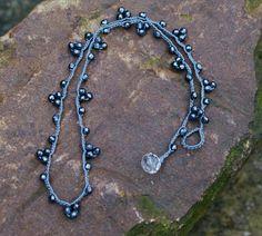 Bunting crochet necklace semi precious gray by Mollymoojewels, Fabric Jewelry, Wire Jewelry, Boho Jewelry, Jewelry Crafts, Gemstone Jewelry, Beaded Jewelry, Jewelery, Jewelry Design, Beaded Bracelets