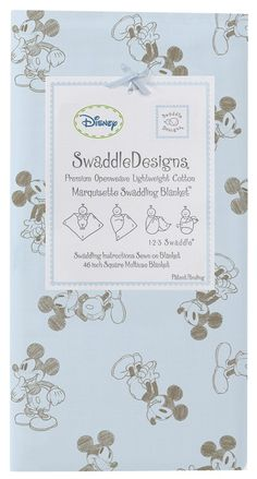 "Swaddle Designs ""Mickey - Taupe Gray on Pastel Blue"" Marquisette Swaddling Blanket"