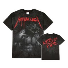 Metallica Jump In The Fire All Over T-Shirt - A gnarly demon graces this Metallica Jump in the Fire All Over T-shirt, a nearly all-black reproduction of the band's earliest singles.