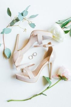 Elegant wedding heels for bride -open-toe heels for wedding {The Cardonas}