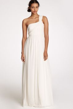 J Crew One-Shoulder Lucienne Gown in Silk Chiffon