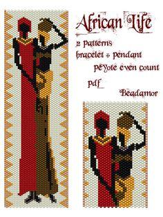 2 modèles de peyotl pour bracelet et pendentif : African Life - téléchargement…