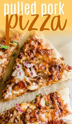Layers of bbq sauce, pulled pork, melty cheese, bacon bits and red onion. The perfect easy dinner recipe that puts your leftovers to work for you! Or use a quick shortcut by Pulled Pork Pizza, Pulled Pork Recipes, Recipes With Pulled Pork Leftovers, Recipe Using Pulled Pork, Leftover Pulled Pork, Leftovers Recipes, Easy Dinner Recipes, Easy Family Recipes, Pizza Au Porc