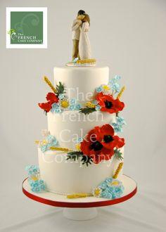 Wedding Cake Poppy, Wheat - Piece Montee Mariage Coquelicot, Ble - Bruidstaart