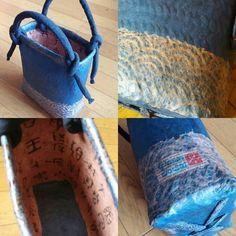 「青に青海波」 自分用に張ったバッグ  この後3件の同じものご要望がありました