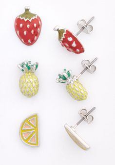 Fruits You Well Earring Set. This tri-pair of earrings is an appropriate pick for a quirky stylista like you! #multi #modcloth