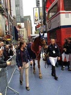 Buck Davidson & Jessica Kiener with My Boy Bobby (a retired US National 4 star champion), spent 2 hrs in Times Square representing the sport of Eventing for an Olympic Demo