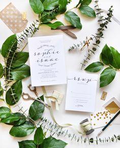 simple laurel calligraphy wedding invitation | Smitten on Paper
