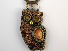 Bead Embroidery Necklace  Bead embroidered pendant  by Vicus, $90.00