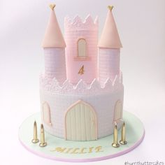 Princess Birthday Cake by Perfect for a little girl's fairytale birthday. Castle Birthday Cakes, Baby Birthday Cakes, Castle Cakes, Princess Wedding Cakes, Princess Birthday, Princess Party, 1st Birthday Party For Girls, Tea Party Birthday, Disneyland Birthday