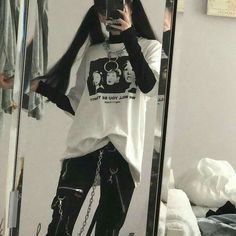 Welcome to the black parade - Marry Ko. - Welcome to the black parade – - Edgy Outfits, Mode Outfits, Korean Outfits, Retro Outfits, Grunge Outfits, Grunge Fashion, Girl Outfits, Fashion Outfits, Edgy School Outfits