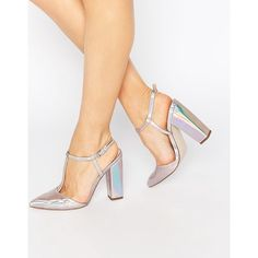 Little Mistress Mollie T-Bar Pointed Heeled Shoes ($52) ❤ liked on Polyvore featuring shoes, silver, high heel shoes, pointy toe shoes, holographic shoes, synthetic shoes and pointed toe shoes