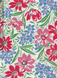 Vintage feedsack fabric- mixed pretty flowers #vintage #retro #interiors #gogreen #patchwork #sew #collect #americana