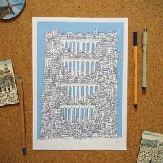 """Ilustração """"Pontilhão"""" da coleção de ilustrações """"Cidades Azuis"""" por Gabriel Dyonisio."""