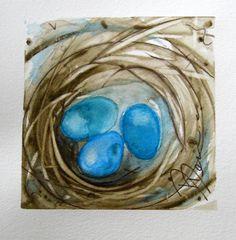 Bird Nest Watercolor Painting Original Bird by RedbirdCottageArt