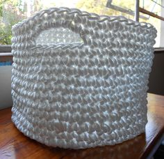 Rope basket, crocheted, woven rope