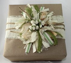 Wrapping With Fabric, Twine, Lace & Buttons