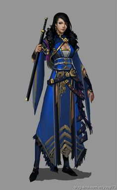 Blue warrior with gold tribal design.