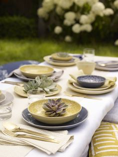 Murmur blue and chartreuse kitchen ceramics and textiles