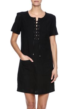 Short sleeve black eyelet dress with front pockets and a round lace up neckline.  Eyelet Lace Up Dress by KUT. Clothing - Dresses - Short Sleeve Clothing - Dresses - Casual Colorado