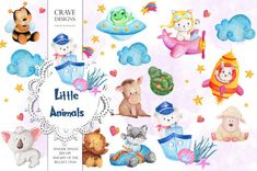 Watercolor Clip Art Little Animals Cute Animals Baby Toys