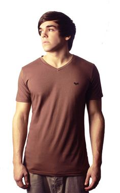 Brown V Neck Plain T-shirt | Clothing for men