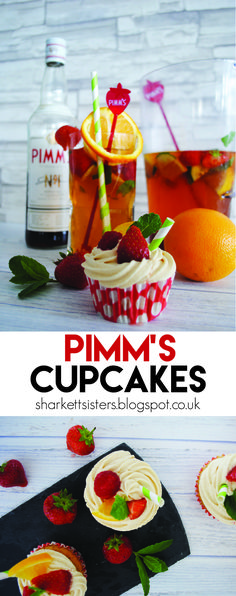 Pimm's Cupcakes! http://sharkettsisters.blogspot.co.uk/2016/08/cocktail-cupcakes-pimms.html