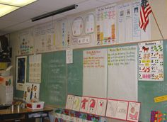 What a literacy rich classroom displaying the work the class has done.
