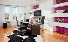 Pop-color wall and cowhide rug, in the Sienna model library from Grand Vista Collection at Brambleton, in Ashburn, VA