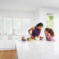 Celebrate special days with those you love and the unique functionality, comfort and style of  Pirouette ® window shadings and Luminette® Privacy Sheers. #hunterdouglas #windowtreatments #kitchen #mothersday