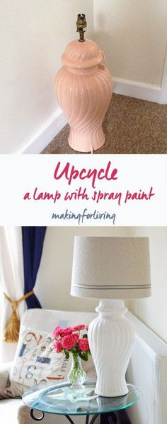 Upcycled lamp with spray paint. Simple makeover for a thrift store lamp.