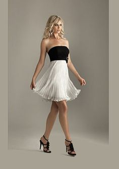 Empire Strapless Short/Mini Chiffon Charmeuse White Cocktail Dresses