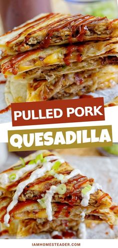 quesadilla recipes This Pulled Pork Quesadilla recipe is the perfect sweet and savory appetizer. Filled to the brim with juicy and flavorful pulled pork, sweet caramelized onions and topped with tangy BBQ sauce. You can definitely serve this on Easter! Quesadillas, Pulled Pork Quesadilla, Bbq Quesadilla Recipes, Pulled Pork Tacos, Bbq Pork, Cooking Recipes, Healthy Recipes, Yummy Recipes, Healthy Food