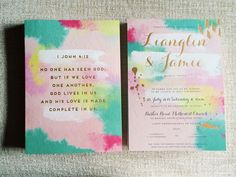 Watercolor splatter wedding invitation | This is amazing! Head over to Spinsugar Stationery where you can see more of their unique works http://www.bridestory.com.sg/spinsugar-stationery/instagram
