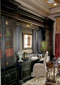 The Decorated House Home Office with Black Cabinet Built-Ins & Desk. I live built ins! Home Office Space, Home Office Design, Home Office Decor, House Design, Home Decor, Office Spaces, Office Built Ins, Built In Desk, Built In Bookcase