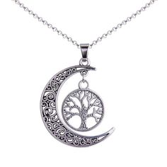 Silver Crescent New Moon Tree of Life Pendant Necklace
