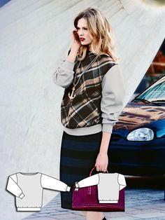 College Sweatshirt 09/2014 #114B http://www.burdastyle.com/pattern_store/patterns/college-sweatshirt-092014?utm_source=burdastyle&utm_medium=blog&utm_campaign=bsawblog081814-sweatshirt